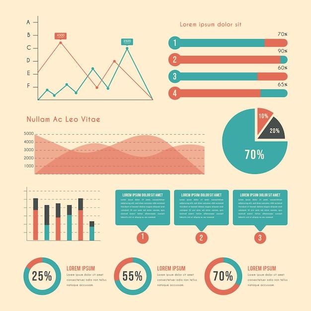 Infographic met vintage kleuren Gratis Vector
