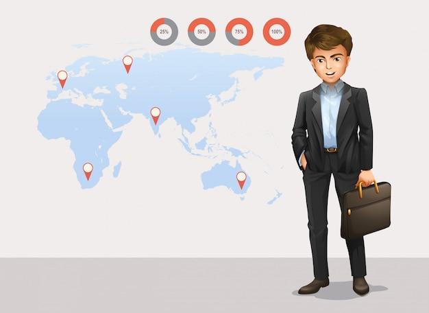 Infographic met wereldkaart en zakenman Gratis Vector