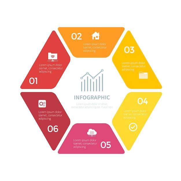 Infographic met zes stappen Premium Vector