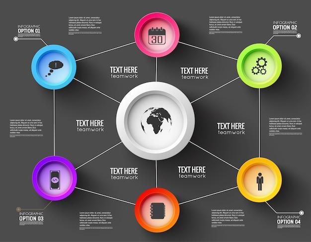 Infographic netwerksjabloon voor presentatie met lijnen en functionele knoppen Gratis Vector