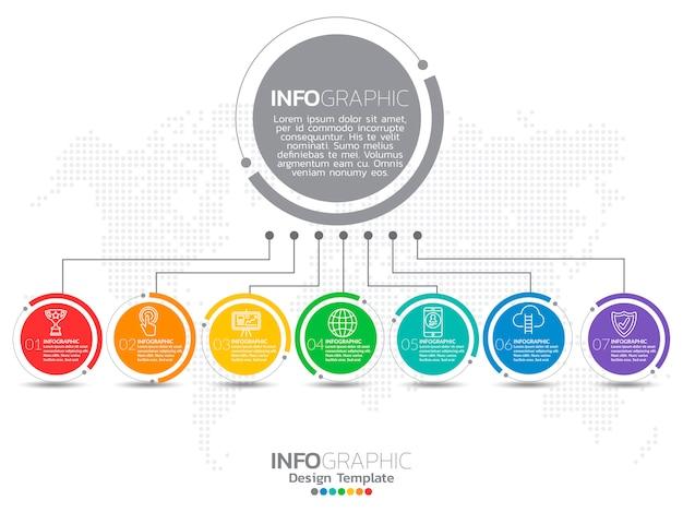 Infographic ontwerp vector en marketing pictogrammen. Premium Vector