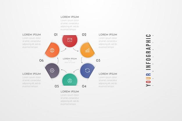 Infographic ontwerpelementen voor uw bedrijfsgegevens met 6 cirkelopties, onderdelen, stappen, tijdlijnen of processen. Premium Vector