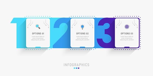 Infographic ontwerpsjabloon met 3 opties of stappen. Premium Vector