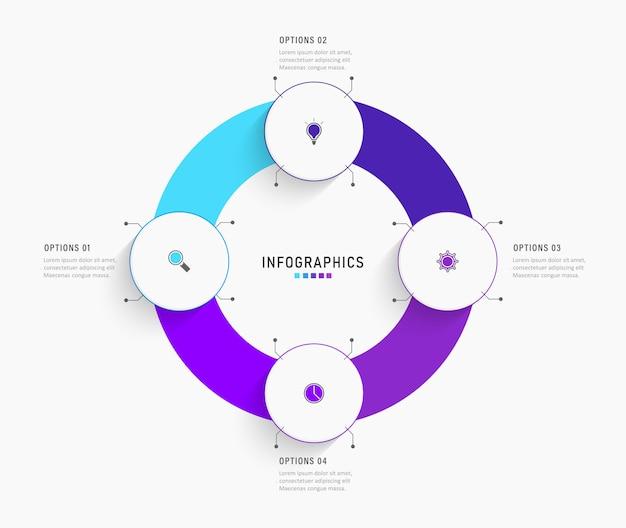 Infographic ontwerpsjabloon met 4 opties of stappen. Premium Vector