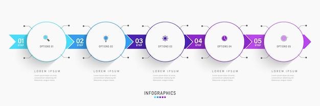 Infographic ontwerpsjabloon met 5 opties of stappen. Premium Vector