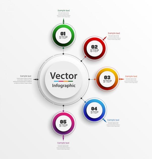 Infographic ontwerpsjabloon met 5 stappen Premium Vector