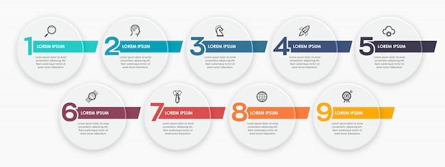Infographic ontwerpsjabloon met icnos en 9 opties of stappen. Premium Vector