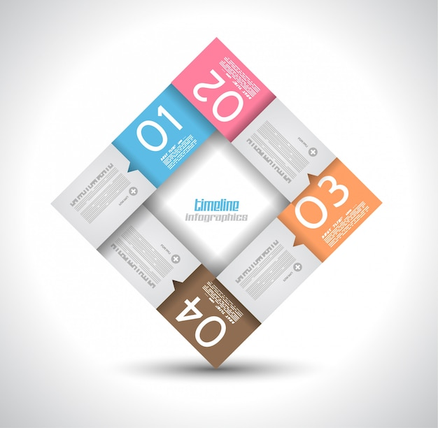 Infographic ontwerpsjabloon met papieren tags. Premium Vector