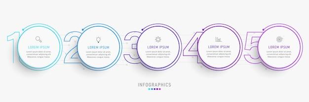 Infographic ontwerpsjabloon met pictogrammen en 5 opties of stappen. Premium Vector