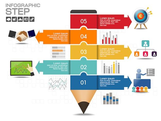 Infographic ontwerpsjabloon met pictogrammen en opties Premium Vector