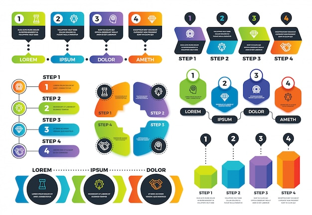 Infographic opties. pijldiagrammen, abstracte procesgrafieken en strategie-infographs met stappen. zakelijke presentatie vector sjabloon Premium Vector