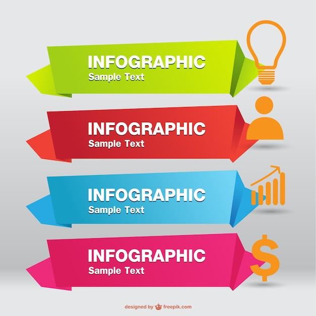 Infographic origami etiketten vector Gratis Vector
