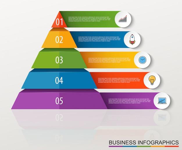 Infographic piramide met meerdere niveaus met cijfers en bedrijfspictogrammen Premium Vector
