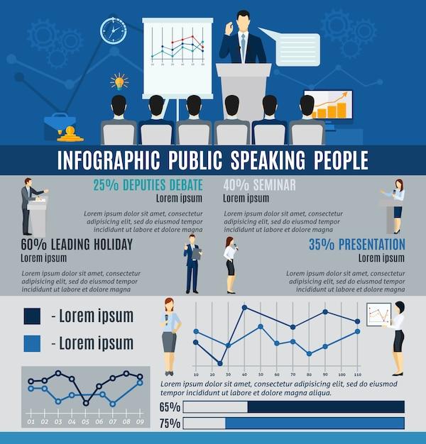 Infographic publieke mensen spreken vanuit podium Gratis Vector