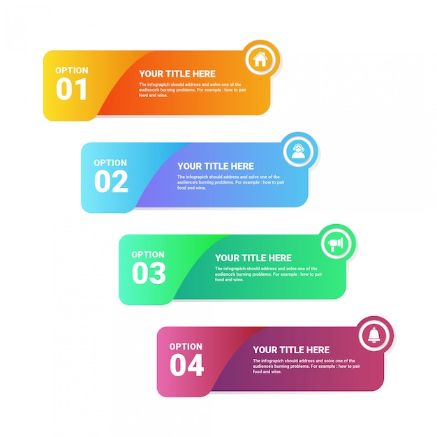 Infographic sjabloon 4 opties Premium Vector