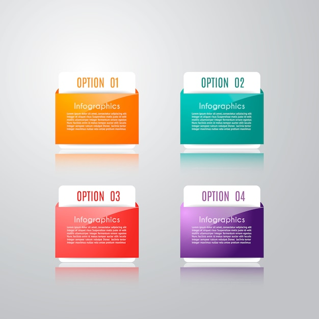 Infographic sjabloon met 4 opties Premium Vector