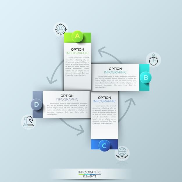 Infographic sjabloon met 4 rechthoekige elementen Premium Vector