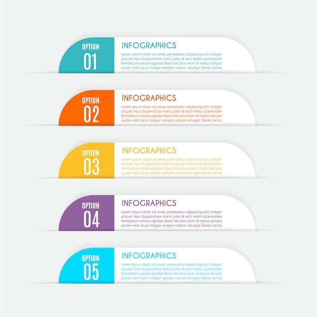 Infographic sjabloon met 5 opties Premium Vector