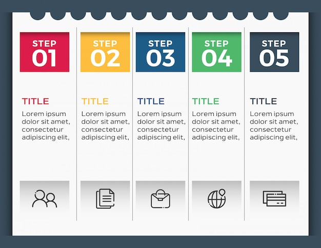 Infographic sjabloon met 5 opties Premium Vector
