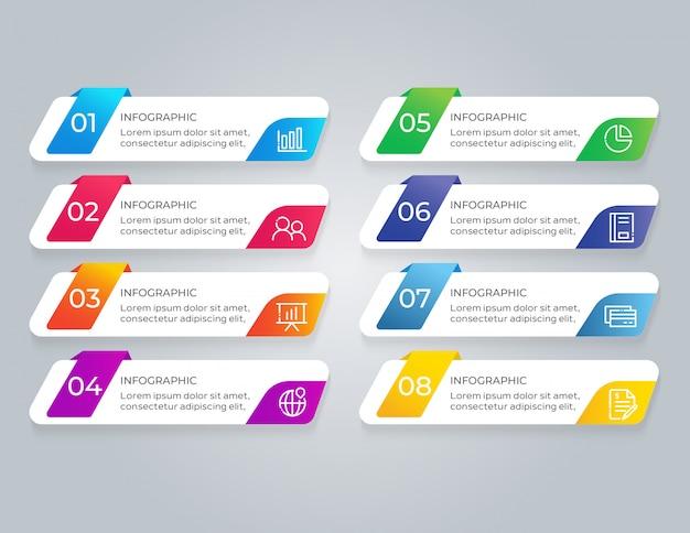 Infographic-sjabloon met 8 optiestappen Premium Vector