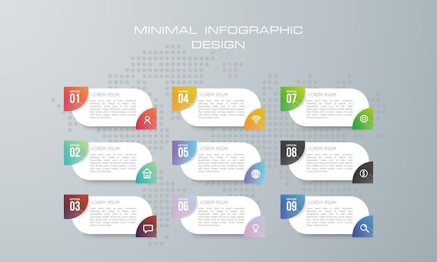 Infographic-sjabloon met 9 opties, werkstroom, procesgrafiek Premium Vector