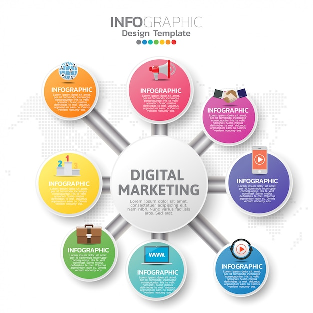 Infographic sjabloon met digitale marketing pictogrammen Premium Vector
