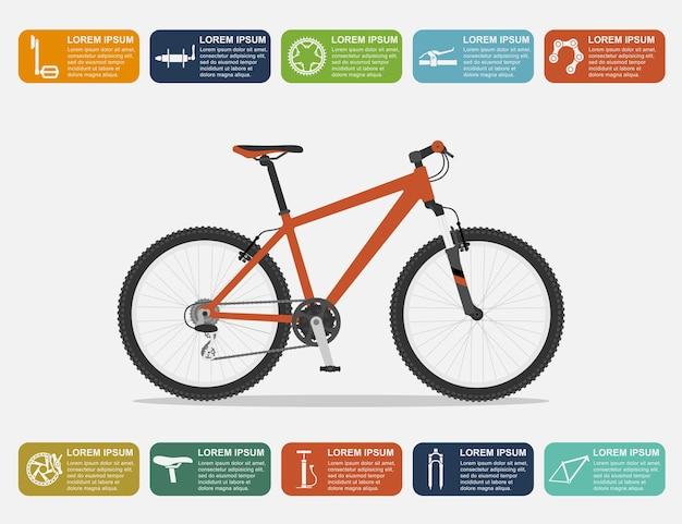 Infographic sjabloon met mountainbike en pictogrammen, stijl illustratie Premium Vector