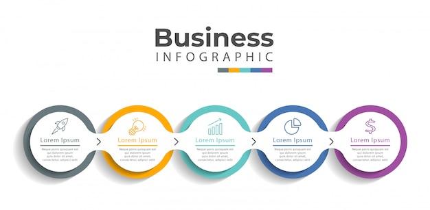 Infographic sjabloon met pictogrammen en 5 opties of stappen. Premium Vector
