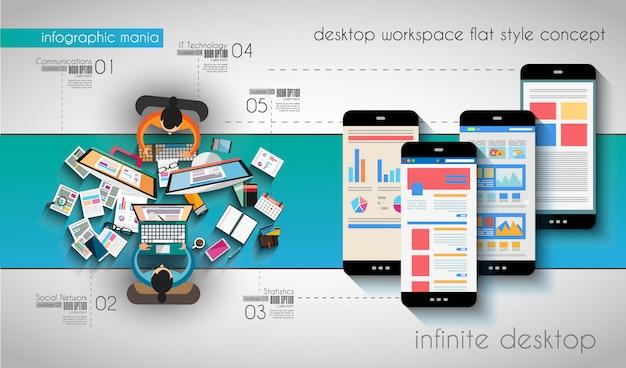Infographic sjabloon met platte ui-pictogrammen voor ttem ranking Premium Vector