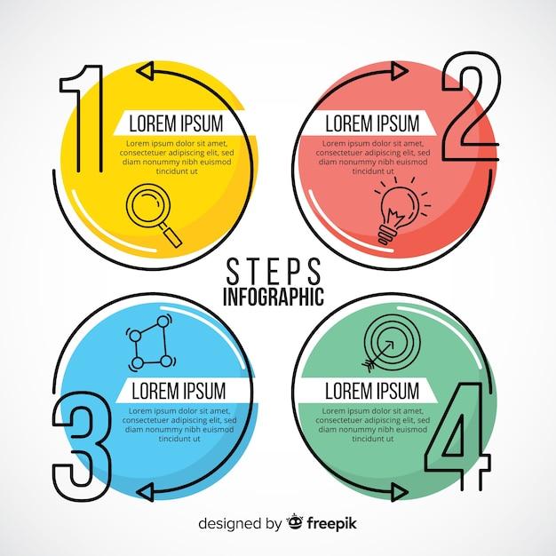 Infographic sjabloon met stappen concept Premium Vector