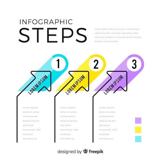 Infographic sjabloon met stappen concept Gratis Vector