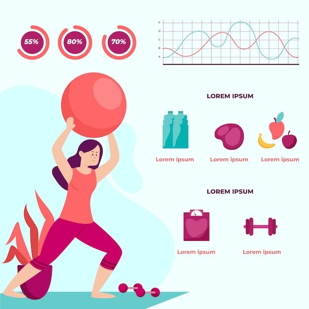 Infographic sjabloon met training van de vrouw Gratis Vector