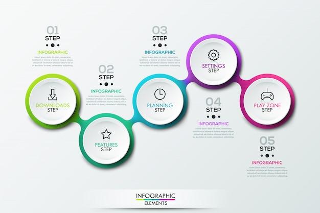 Infographic sjabloon met verbonden cirkelvormige elementen Premium Vector
