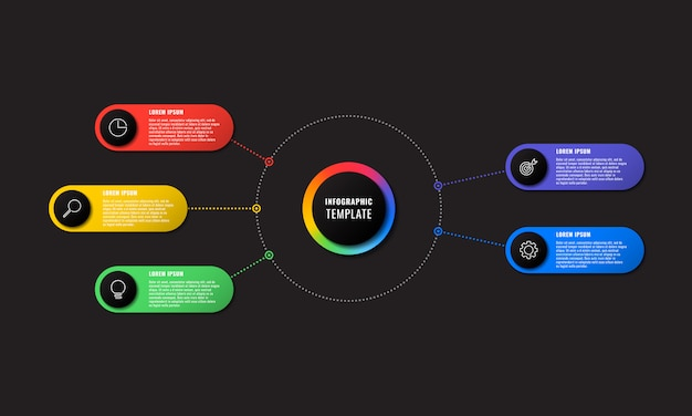 Infographic sjabloon met vijf ronde elementen Premium Vector