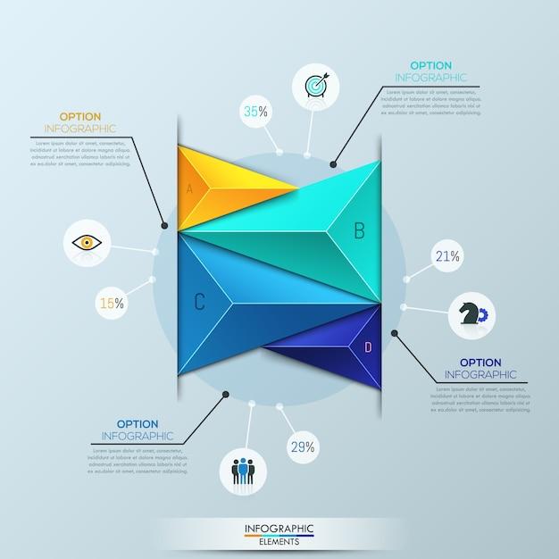 Infographic sjabloon, staafdiagram met 4 veelkleurige driehoekige elementen Premium Vector