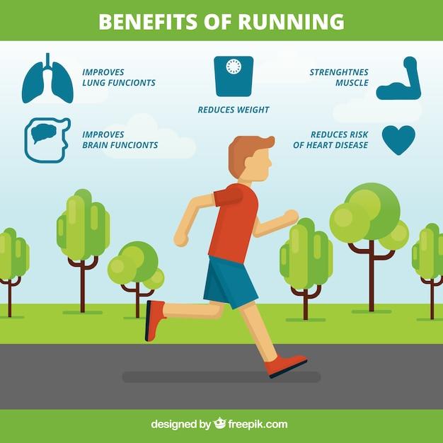 Infographic sjabloon van de voordelen van hardlopen Gratis Vector