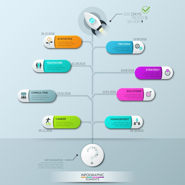 Infographic-sjabloon, verticaal boomdiagram met 8 verbonden elementen en tekstvakken Premium Vector