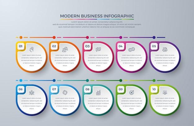 Infographic sjabloonelementen met 10 proceskeuzes of stappen Premium Vector