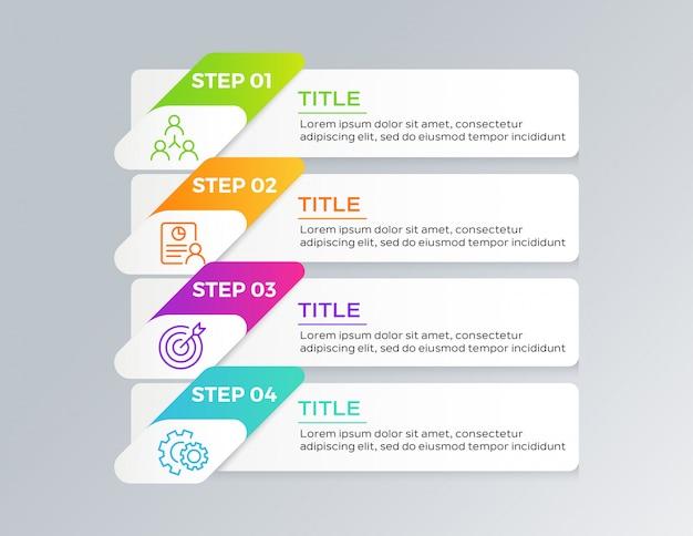 Infographic sjabloonontwerp met 4 stappen Premium Vector