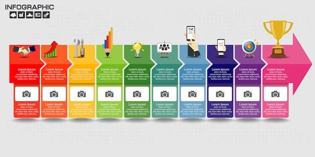 Infographic sjabloonontwerp met pictogrammen en opties. Premium Vector