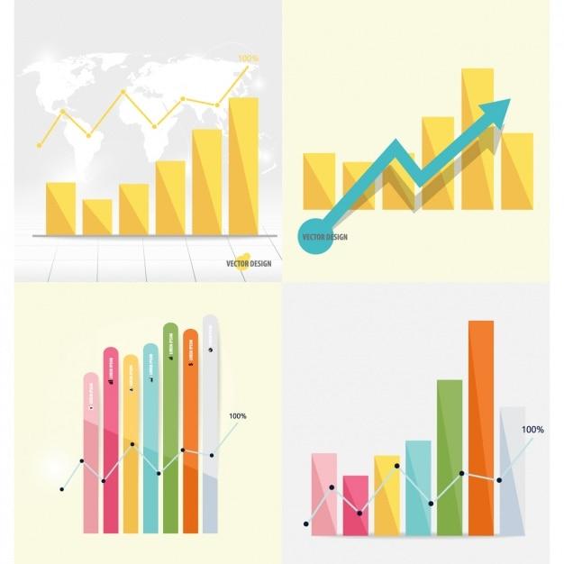 Infographic staafdiagram collectie Gratis Vector