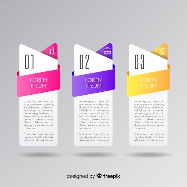 Infographic stappen collectie plat ontwerp Gratis Vector