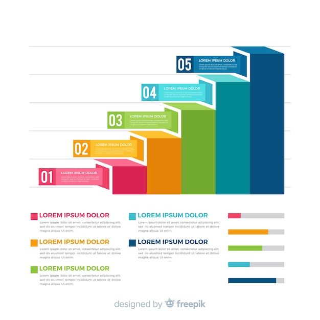 Infographic stappen concept Gratis Vector