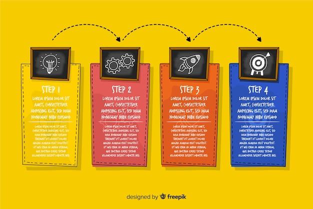 Infographic stappen in de hand getekende stijl Gratis Vector