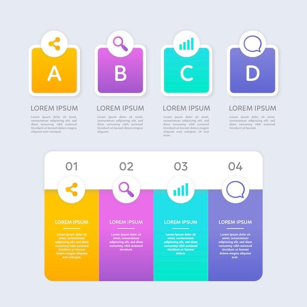 Infographic stappen in plat ontwerp Gratis Vector