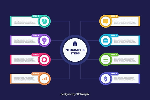 Infographic stappen platte ontwerpsjabloon Gratis Vector