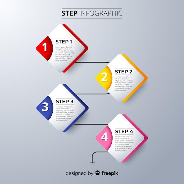Infographic stappen sjabloon plat ontwerp Gratis Vector