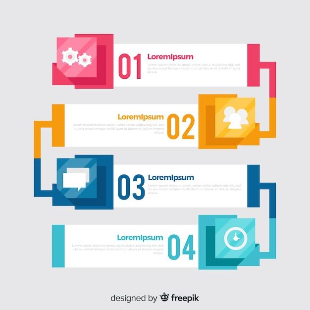 Infographic stappen sjabloon vlakke stijl Gratis Vector