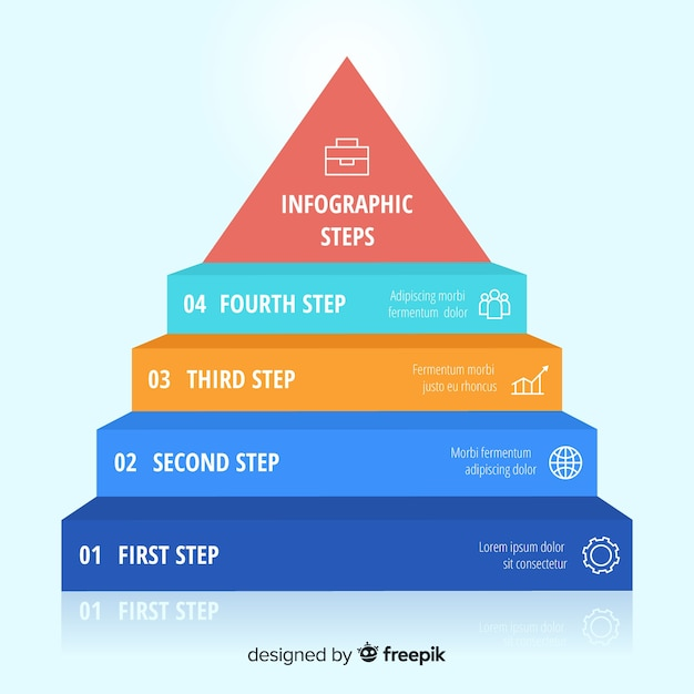 Infographic stappenconcept in vlakke stijl Gratis Vector