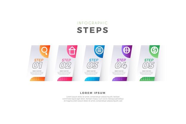 Infographic steps elements Gratis Vector